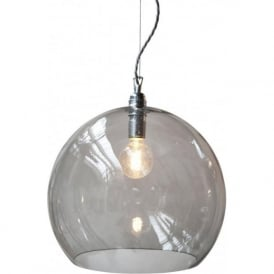 ROWAN large smoky grey glass ceiling pendant light