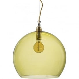 ROWAN large transparent olive green glass ceiling pendant light