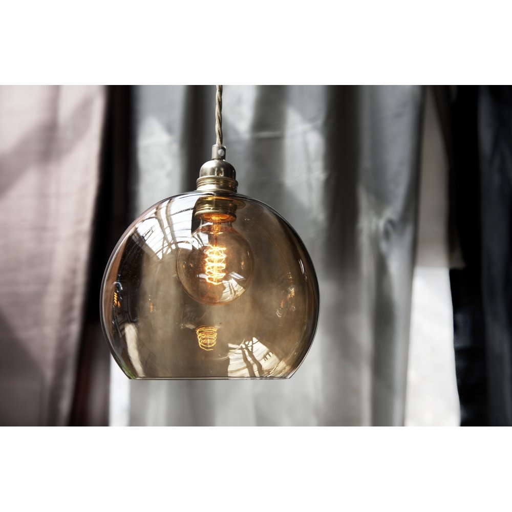Glass Pendant Light Fitting Rowan Medium Chest Nut Brown