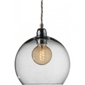 ROWAN medium smoky grey glass ceiling pendant light