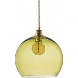 ROWAN medium transparent olive green glass ceiling pendant light