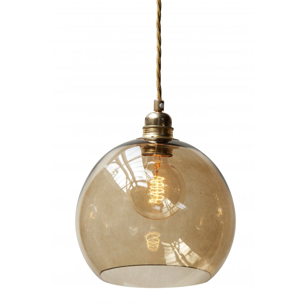 Globe Shaped Pendant Light Fitting Suspended On Long
