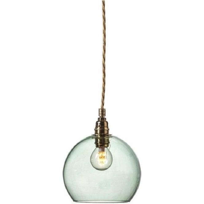 d6252f81eab3 Mini Glass Globe pendant light in forest green transparent glass.