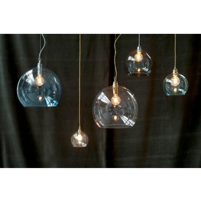 smokey grey glass pendant light a mini blown globe with long drop