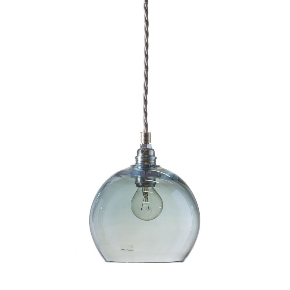 Glass Globe Ceiling Pendant Light In Transparent Topaz Blue