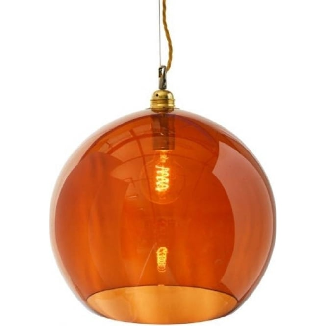 Transparent rusty orange glass ceiling pendant light for over tables rowan rust coloured transparent glass celing pendant with gold cable large mozeypictures Image collections