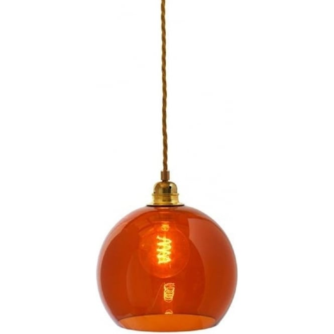 Small Rust Coloured Transparent Mouth Blown Glass Ceiling