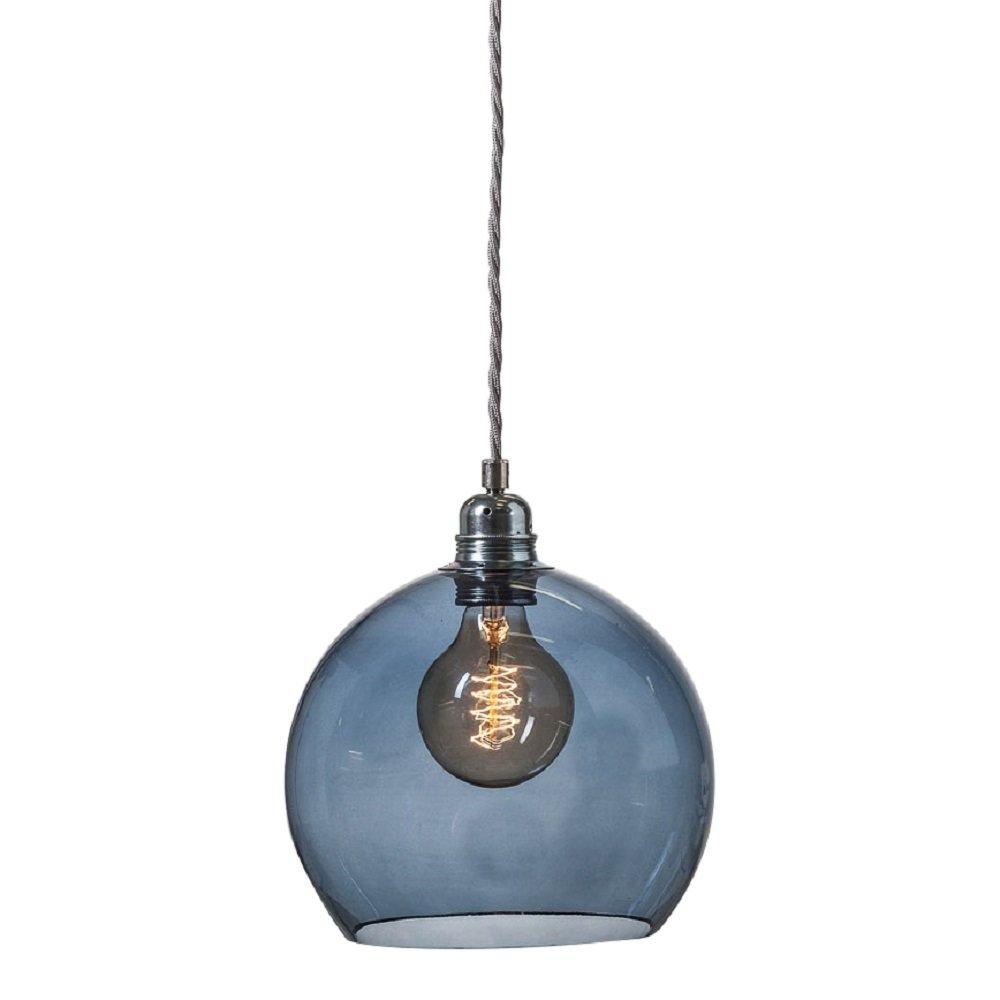 Blue transparent glass globe ceiling pendant with long for Small hanging light fixtures