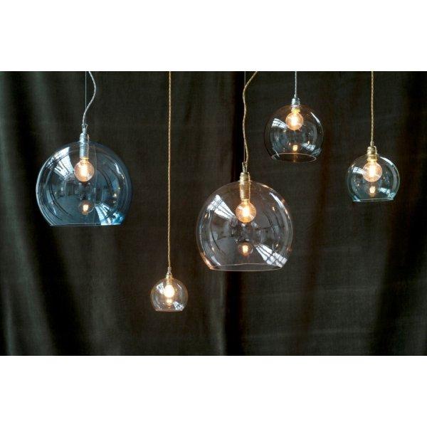 Small Grey Glass Globe Pendant Light Fitting, On Vintage