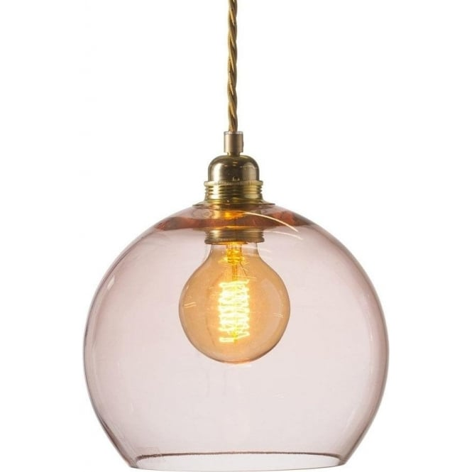 Rowan small ceiling pendant light in transparent coral pink glass rowan small transparent coral glass ceiling pendant light aloadofball Gallery