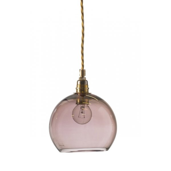 Purple Glass Globe Hanging Pendant Light On Long Braided Cable