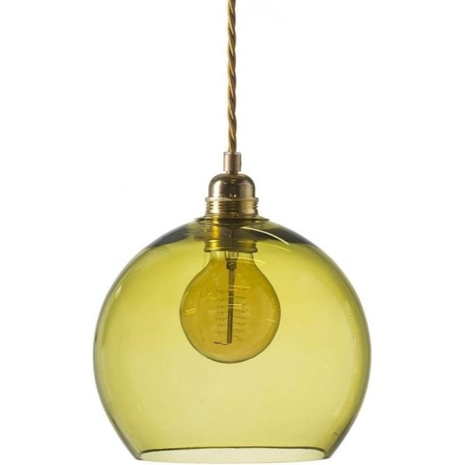 Small olive green coloured glass ceiling pendant light with long drop rowan small transparent olive green glass ceiling pendant light aloadofball Choice Image