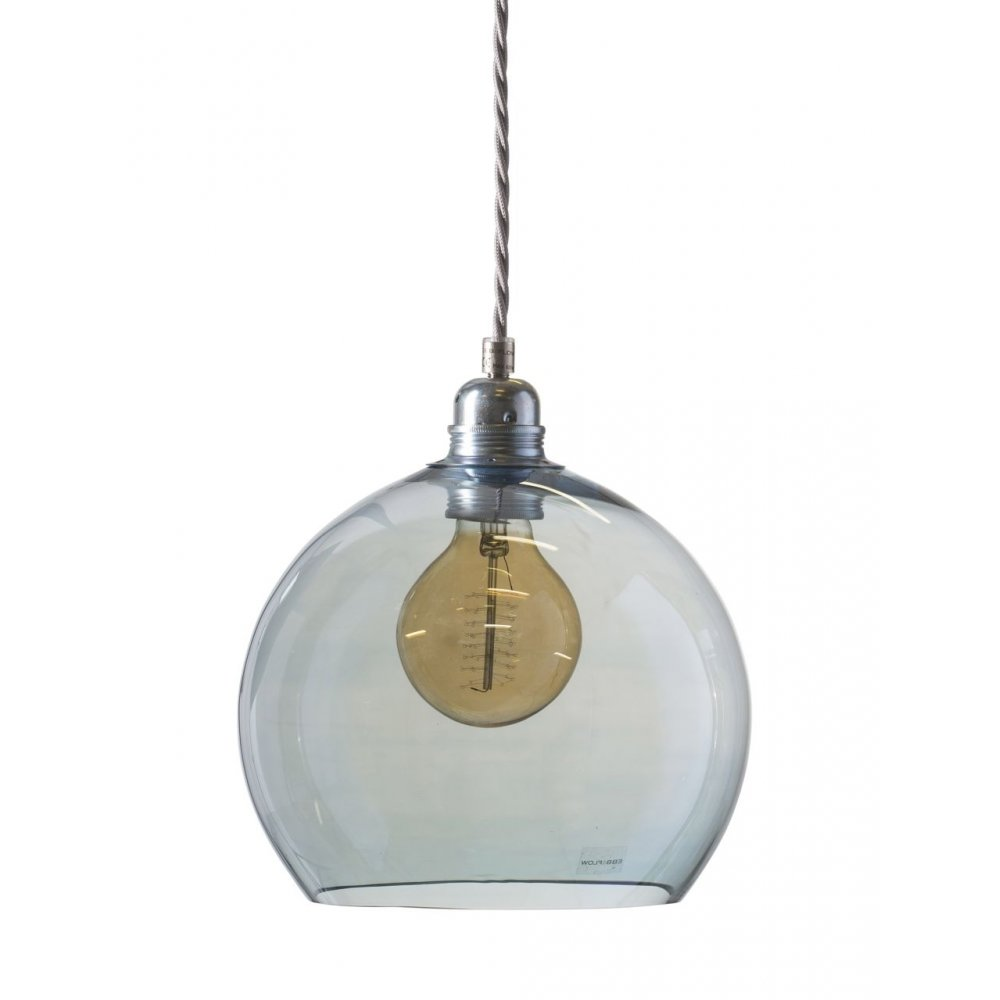 Rowan Topaz Blue Glass Globe Ceiling Pendant Light Long