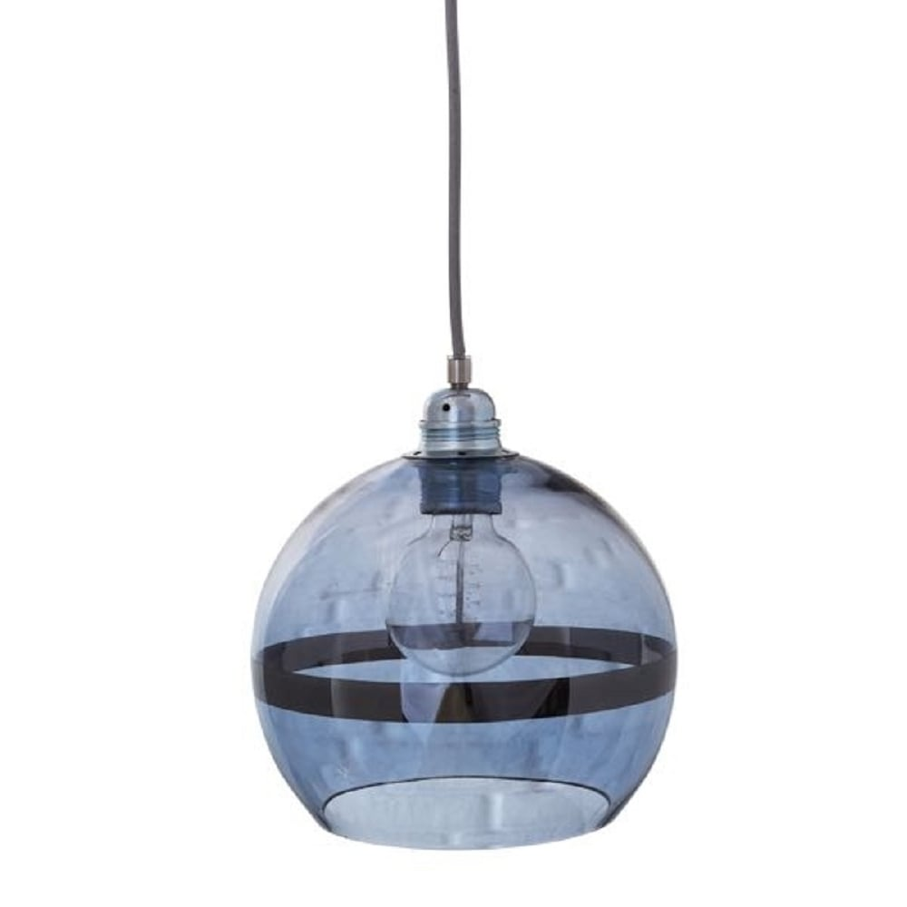Globe Shaped Ceiling Pendant Light In Transparent Blue Glass