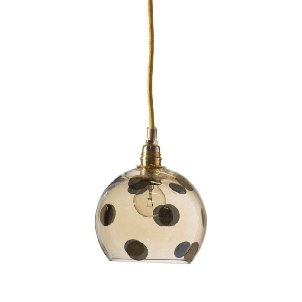 Transpaarent Gold Glass Ceiling Pendant Light With Polka Dots