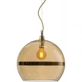 ROWAN transparent gold glass ceiling pendant with gold stripe (large)