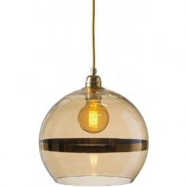 ROWAN transparent gold glass ceiling pendant with gold stripe (medium)