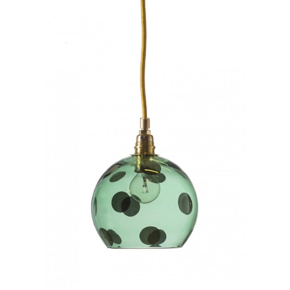 transparent green glass ceiling pendant light with large