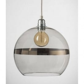 ROWAN transparent grey glass ceiling pendant with platinum stripe (large)