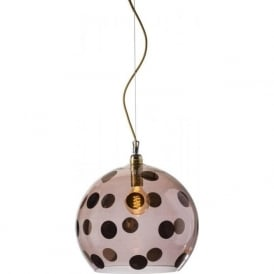 ROWAN transparent obsidian glass ceiling pendant with copper dots (large)