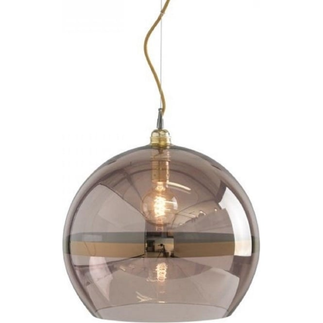 Copper coloured glass globe ceiling pendant light on gold wire cable rowan transparent obsidian glass ceiling pendant with copper stripe large aloadofball Image collections