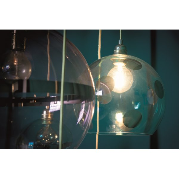 Copper Coloured Glass Globe Ceiling Pendant Light On Gold Wire Cable