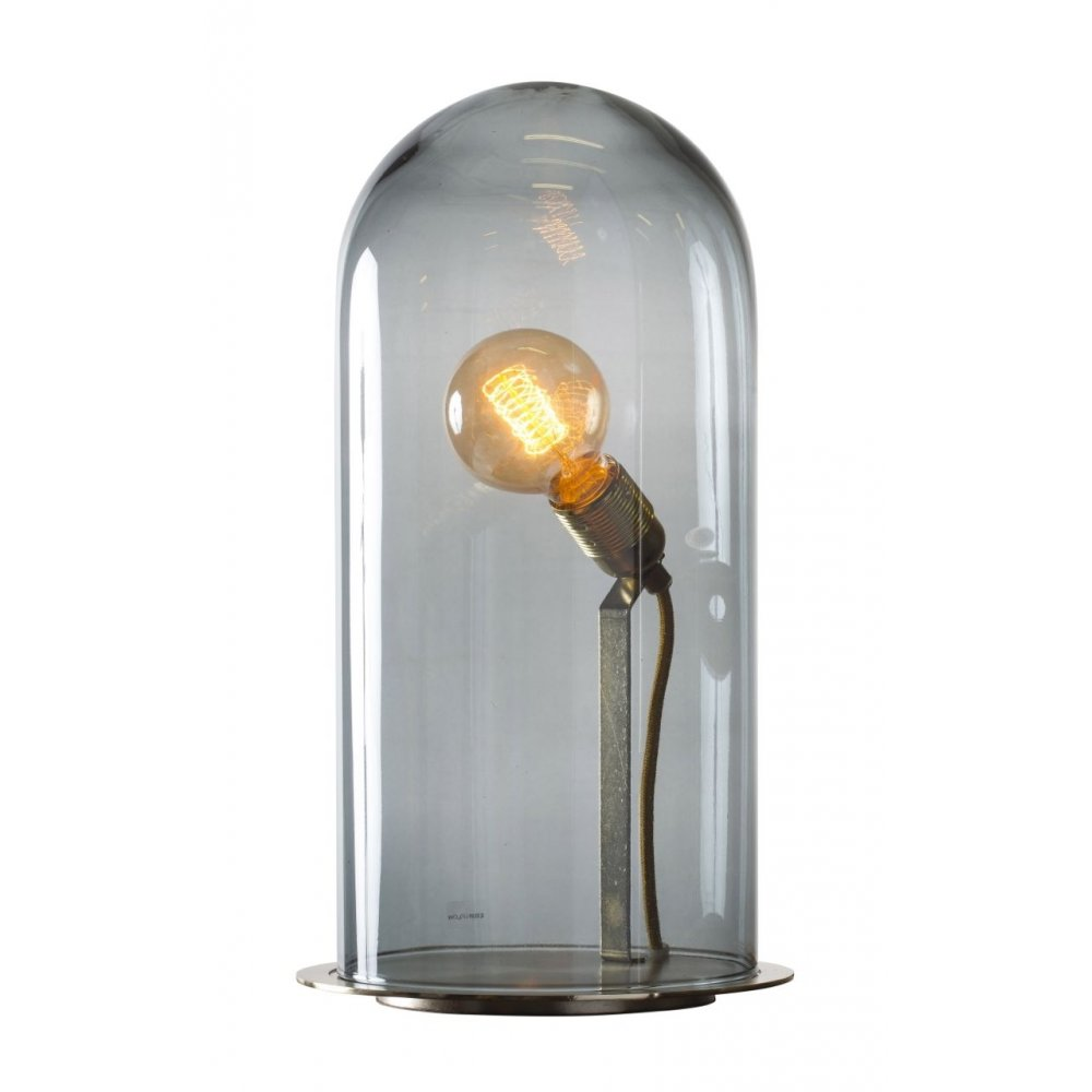 Smoky Grey Tall Cloche Table Lamp in Transparent Mouth ...
