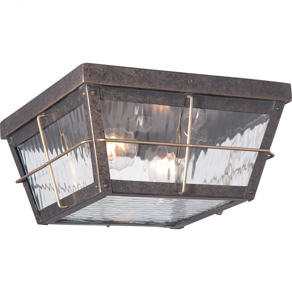 Ip44 Flush Fitting Porch Ceiling Light In Bronze With Rippled Glass