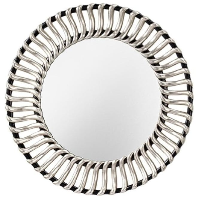 Circular Mirror With Silver And Black Frame, Ornate Round Silver Wall Mirror