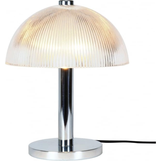 Cosmo Modern Art Deco Table Light With Ribbed Prismatic Glass Shade