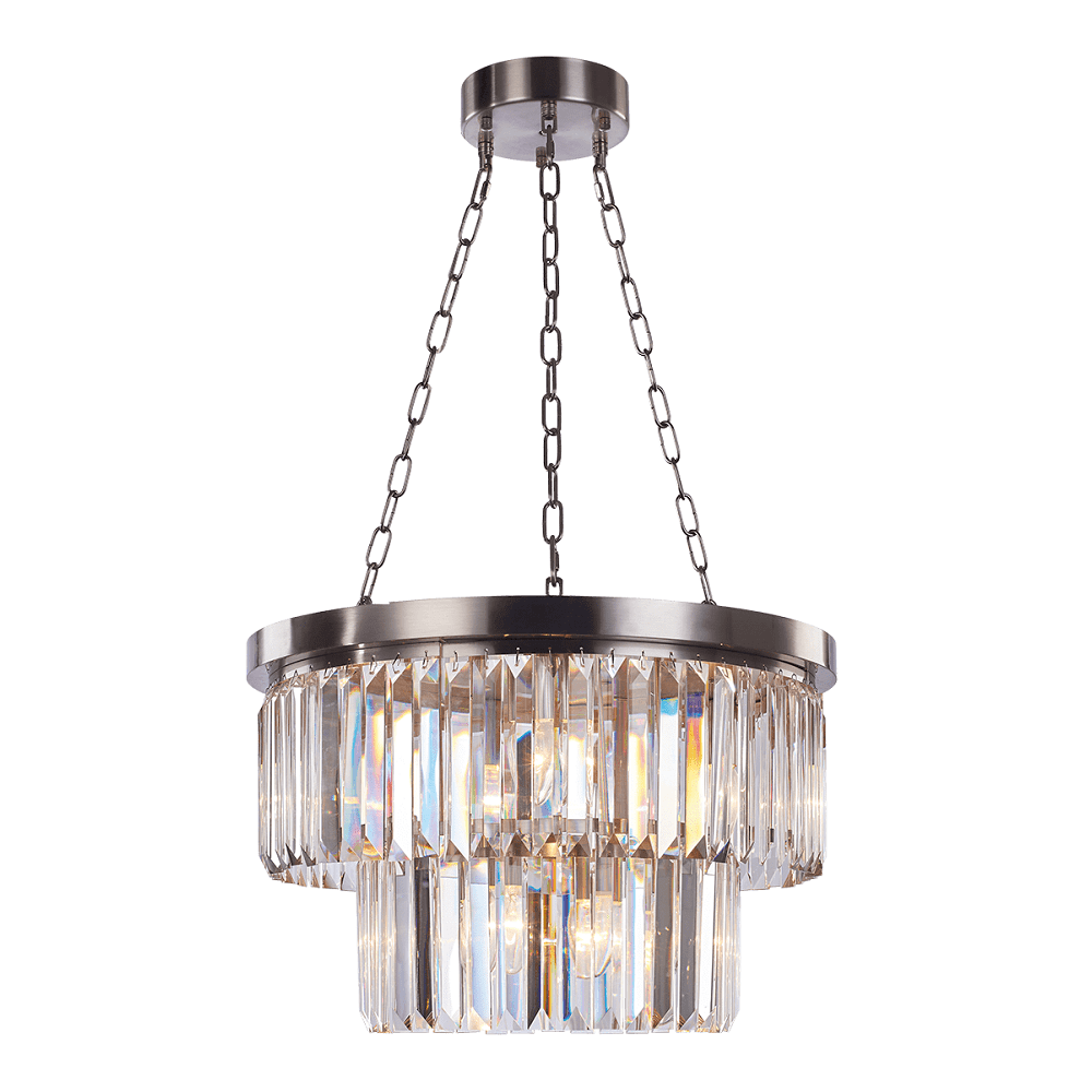 Modern Satin Nickel And Crystal Chandelier With 2 Cascading Tiers