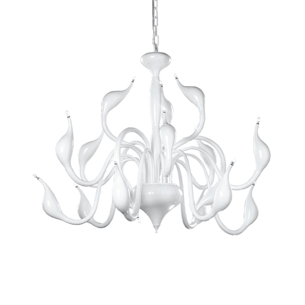 18 Light Modern White Ceiling Light Fitting With Elegant Swan Like Arms