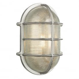 ADMIRAL large nautical style IP64 bulkhead wall light in nickel with ribbed glass shade