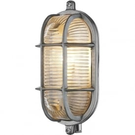 ADMIRAL nautical style IP64 bulkhead wall light in nickel with ribbed glass shade