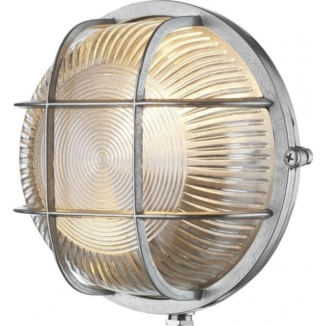 David Hunt Lighting ADMIRAL nautical style IP64 bulkhead wall light in nickel with ribbed glass shade