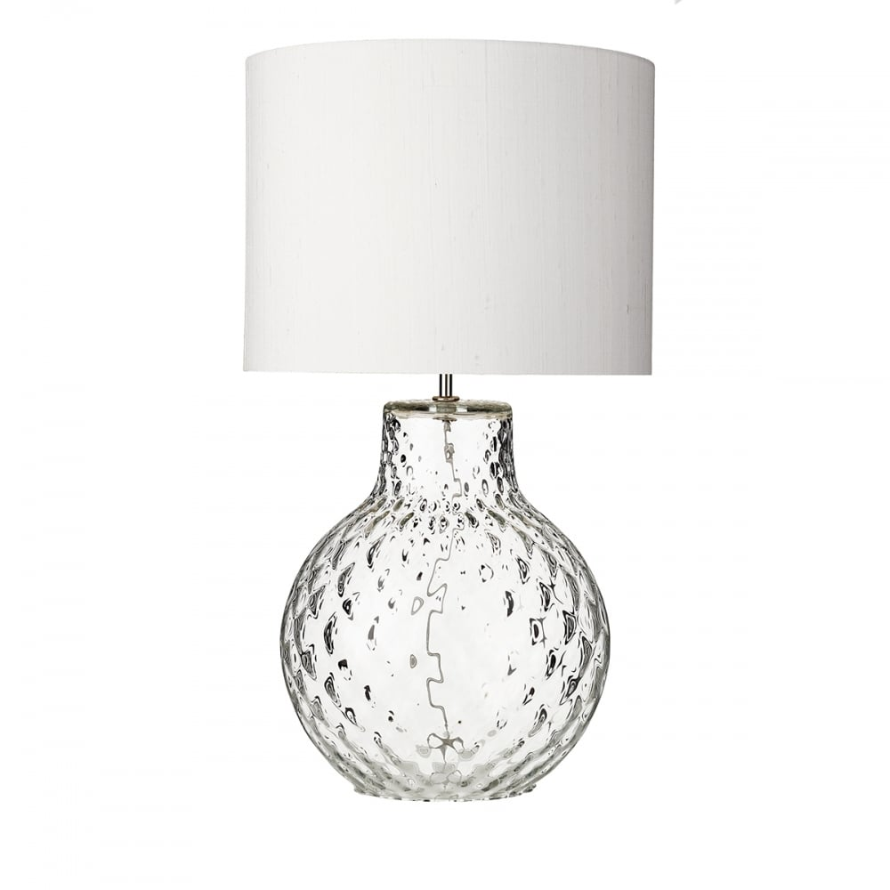 Azores Clear Dimpled Glass Table Lamp With Ivory Silk Shade Large