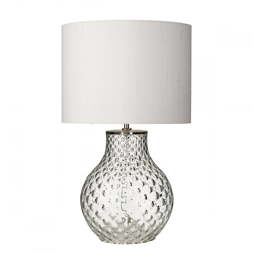 Azores Clear Dimpled Glass Table Lamp With Ivory Silk Shade Small