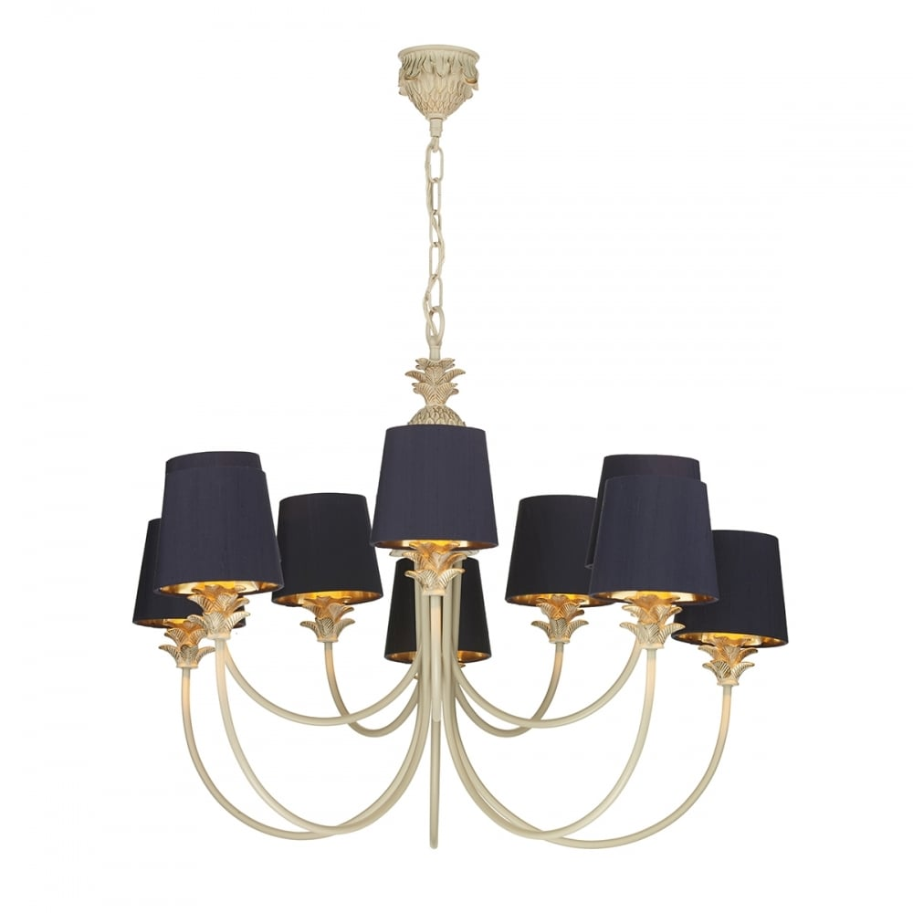 Colonial Pineapple Design Chandelier In Cream Gold With