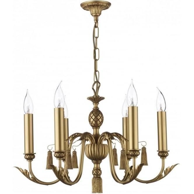 Chandelier Lighting Sale Uk: CLASSIC Antique Gold Chandelier Decorative Leaf & Tassels