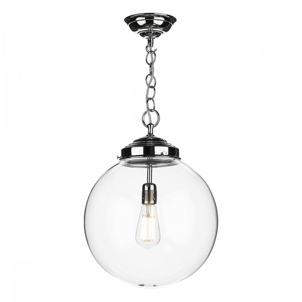 Fairfax traditional clear glass globe ceiling pendant on chrome fitting