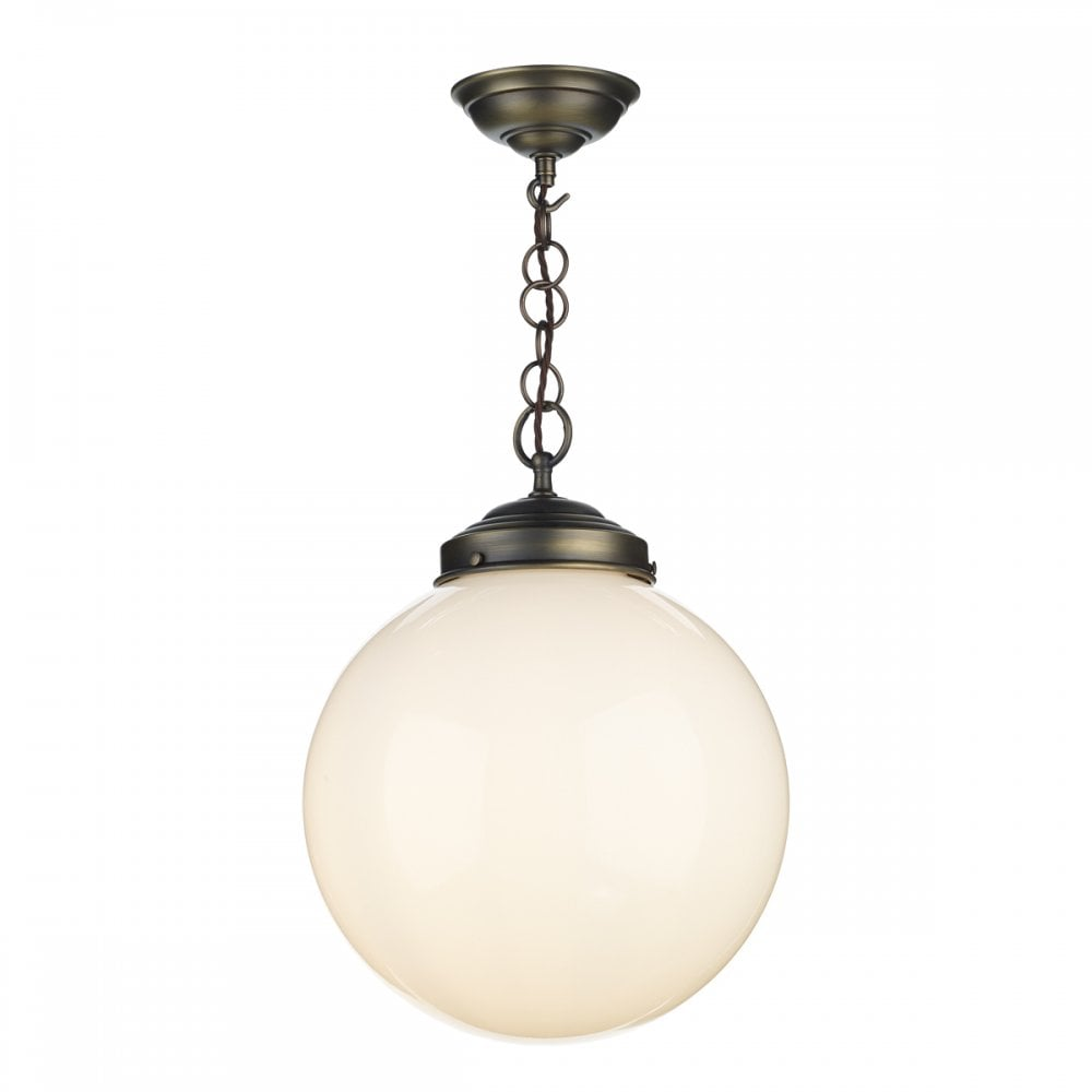 Fairfax traditional opal glass globe ceiling pendant on antique brass fitting