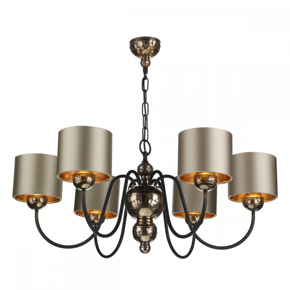 6 Light Traditional Bronze Ceiling Light with Almond Satin Shades