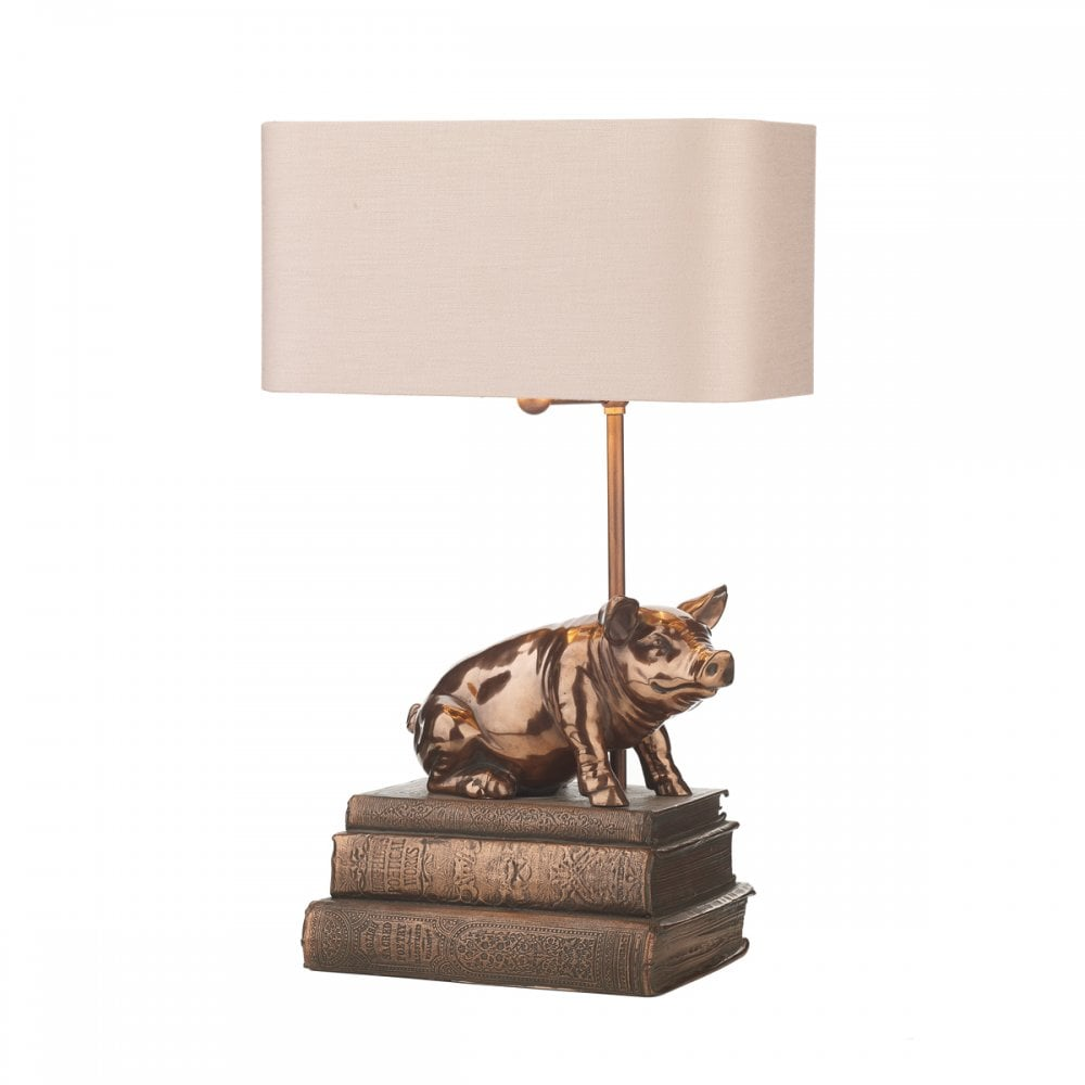 Animal table lamp Plastic Animal Horace Copper Pig Table Lamp With Shade Table Number Frames Traditional Animal Table Lamp With Copper Pig Sat On Antique Book