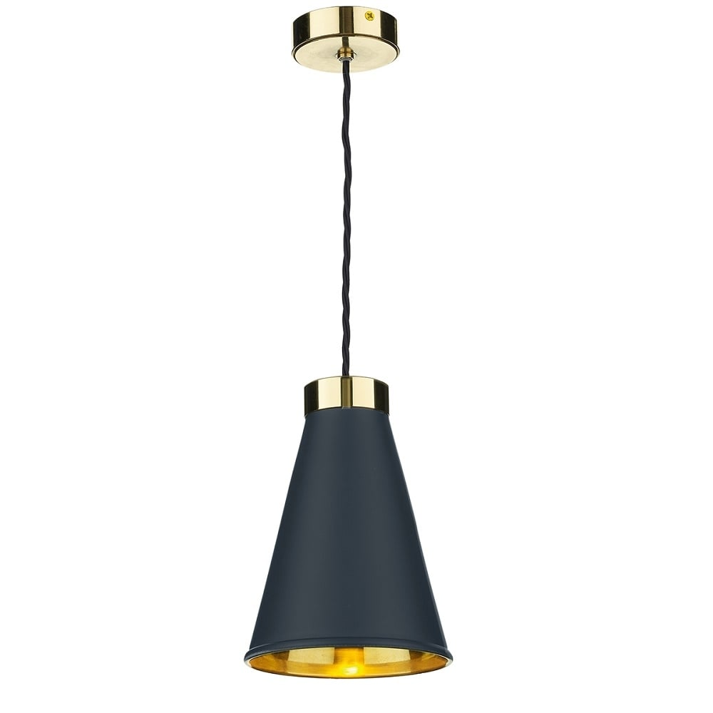 Shop Lights Uk: Smoke Blue Painted Ceiling Pendant With Brass Detail And