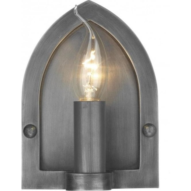 LINDISFARNE Rustic Gothic Pewter Wall Sconce