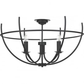 ORB 3 light semi-flush ceiling light with open cage frame - black
