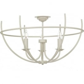 ORB 3 light semi-flush ceiling light with open cage frame - cream
