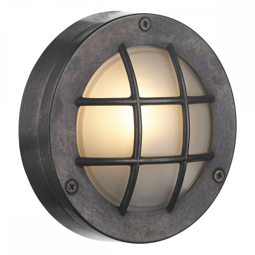 Pembroke circular oxidised bulkhead wall or ceiling light for indoor or outdoor use