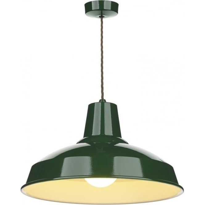 Industrial retro style metal ceiling pendant light in racing green aloadofball Image collections