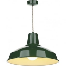 RECLAMATION retro style racing green metal ceiling pendant light